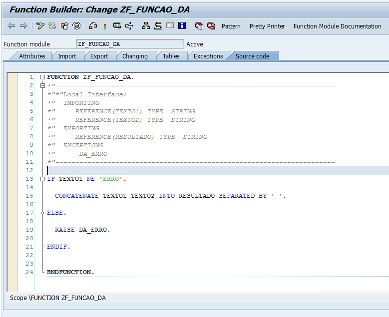 Function Builder Function Module Call Function Abap