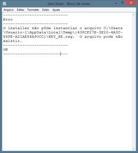 Erro da instalação - Notepad