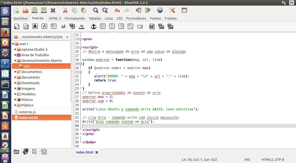 Websites – OnError – Javascript – Linux   Desenvolvimento