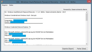 DA - Windows Vault/Network Password Recovery - V 1.0 - Betha