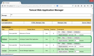 Lista de Aplicações Web - Tomcat