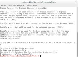 Configuração Oracle XE