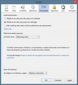 Firefox - Opções -  Privacidade