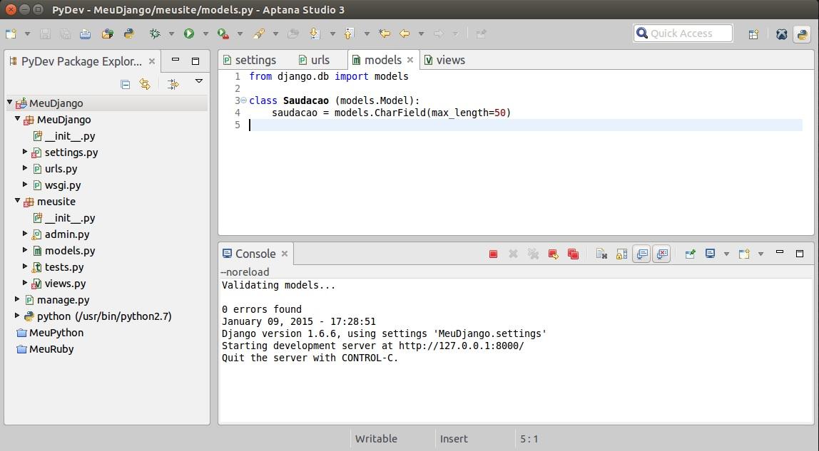 Django – Aptana Studio 3 – PyDev – MySQL – Linux – Python